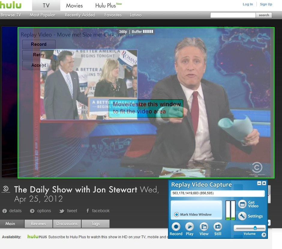 Record Hulu Online Video Recorder Pick: Replay Video Capture